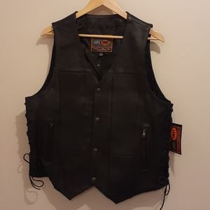 NWT First Classics Leather Biker's Vest Men's L